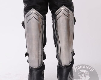 "Larp, Female Armor, Fantasy, Elf, Elven Costume ""Flamberg"" steel  leg protection for women: greaves"