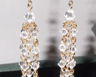 Vintage Look Crystal Drop Earrings, Chandelier Style, available in gold or silver, pierced or clip on