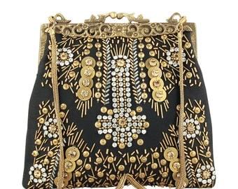 Vintage Style Black Evening Bag, Black Silk Bag, Black Bead Purse, Gold Diamond Black Sequin Purse, Black Satin Bag, Black Gold Evening Bag,