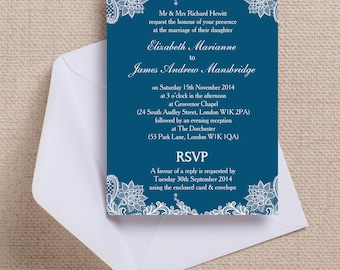 Navy Blue and White Vintage Lace Wedding Invitation & RSVP with envelopes