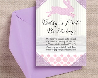 Pink and Lilac Pastel Bunny Rabbit Kids Party Invitation Cards