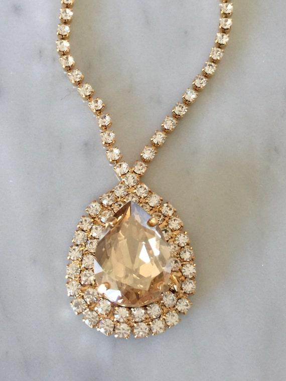 Large Pear Cut Swarovski Crystal Golden Shadow Bridal, Cocktail Necklace