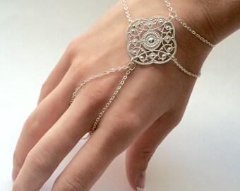 Tribal Bohemian Hand Bracelet Tribal Hand Chain Silver Plated Boho Hand Jewelry Bohemian Jewelry Boho Slave Bracelet Silver Hand Bracelet