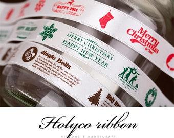 "HOLYCO White Christmas Ribbon. 3/4""(20mm) - 3 Type. made in Korea"