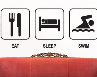 Eat Sleep Swim Wall decal Evolution Swimmer Swimming Pool Sport Gym Exercise Water Fitness Wall Art Decal Stickers nm349
