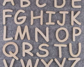 Comic Sans Font Alphabet Set 3mm Plywood Capital Letters A-Z 26 Characters