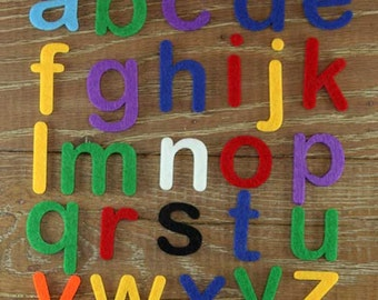 Arial Rounded Alphabet Set.  3mm Felt Lower case Letters A-Z 26 Characters Sizes 5-12cm