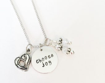 choose joy necklace | personalized hand stamped necklace