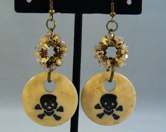 Jolly Roger Pirate Shell Earrings