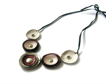 Pink tone leather necklace, leather circle necklace, statement necklace, bib necklace, leather jewelry