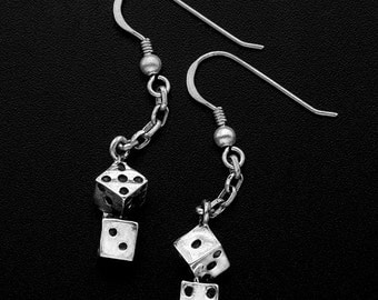 Sterling Silver double Dice Earrings-lucky dice
