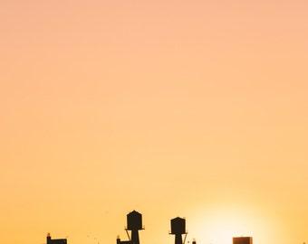 New York Water Tower Print, New York, Art, Photography, Shadows Sunset, orange