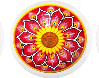 Red and Yellow Talavera Style Cabinet or Drawer Knob or Pull