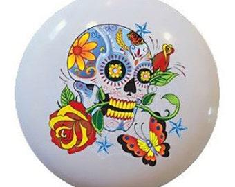 Day of the Dead Sugar Skull Rose Ceramic Knobs Pulls Kitchen Drawer Cabinet Vanity