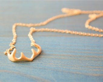 Antler gold necklace, sterling silver filled, 14k gold plating, solid antler pendant, best gift, unique design (XL25)