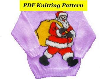 Childrens & Adults Christmas Santa Jumper / Sweater Knitting Pattern #9   PDF Instant Download Xmas