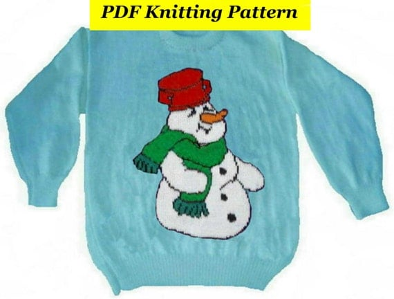 Knitting Patterns For Children s Christmas Jumpers : Childrens & Adults Christmas Snowman Jumper / Sweater Knitting