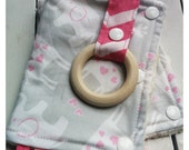 Baby Carrier Strap Covers with Teething Rings - Drool Pads - Suck Pads - Elephants, Giraffes, Light Pink, Light Gray, Chevron
