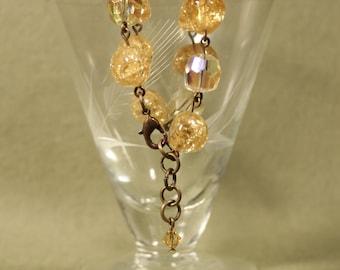 Amber Color Vintage Glass Bead Bracelet
