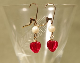 Red Heart and Pearl Valentine Earrings