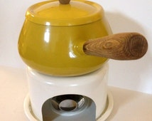 Mid-Century Yellow Enamel Fondue Pot with White Enamel Bottom & Wooden Handles