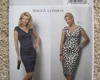 UNCUT Misses Dress by Maggy London  - Size 6, 8, 10, 12 - Butterick Sewing Pattern B5383