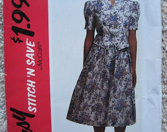 UNCUT Misses' Two Piece Dress - McCalls Pattern 5789 - Vintage 1992