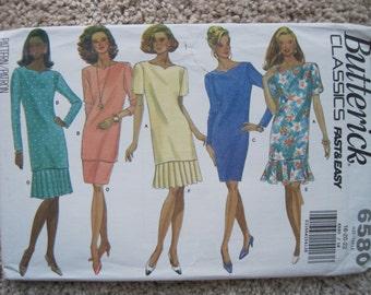 UNCUT Misses / Misses Petite Dress, Top and Skirt - Size 18 to 22 - Butterick Pattern 6657 - Vintage 1993
