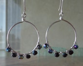 Beautiful Peacock Glass Beads on Wire Earrings