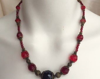 SALE- Bold Red Crystal Necklace