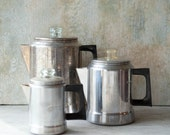 Aluminum Coffee Pots Set of 3 by Comet, Vintage Coffee Percolator, Aluminum Pots, Coffee Kettle Camping Gear,Camping Kettle Aluminum Kettle