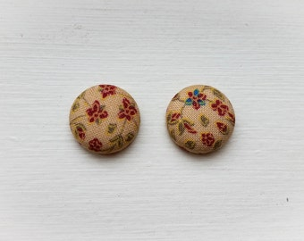 Floral Print Button Fabric Earrings