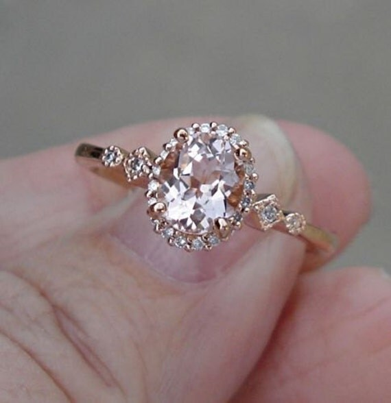 Sold 1 Ct Morganite Solitaire And Diamond Ring 14k Rose Gold