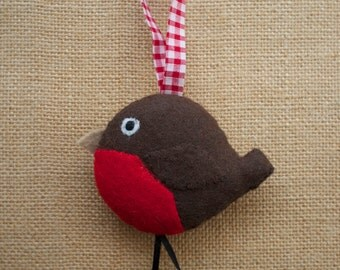 Christmas robin felt tree decoration - handmade ornament