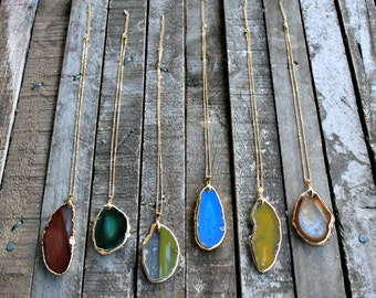 Gold Edged Agate Slice Necklaces