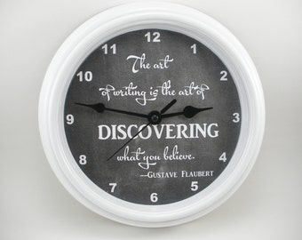 """ENGLISH TEACHER """"The Art of WRITING"""" (or your choice of quote) Wall Clock Language Arts Teacher"""