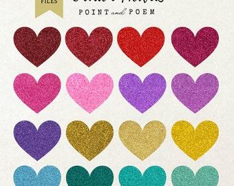 Glitter Hearts clip art: valentine heart clipart, Valentine's Day, valentine cards, gold, wedding invitation /instant download/