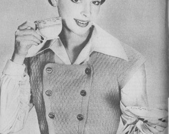 1950 Vintage Ladies Waistcoat Bolero Knitting Pattern Digital Download