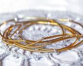Stacking bracelet set, gold tube bracelets, simple metal gold bracelets, handmade jewelry, stretchy bracelet, bangle elastic bracelets