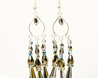 grey/silver crystal chandelier earrings