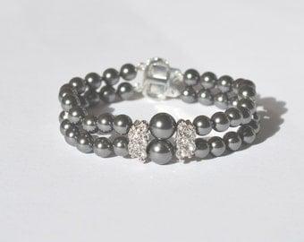 Double Strand Dark Grey Pearl Bracelet, Repurposed rhinestone accents,Swarovski 6mm & 8mm pearls, Silver fin box clasp
