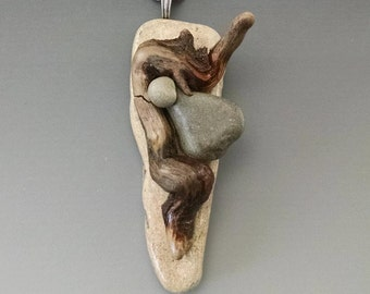 Driftwood Necklace with Beach Stone, #19
