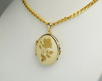 Hinged LOCKET with rose motif & heavy curb chain, to the open 2 photos