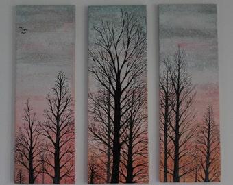 Winter sunrise silhouette tree painting. Three panel canvas . Original painting. Wall art. Home Decor.