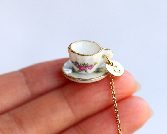 Tea Cup Necklace Personalized Initial Necklace Tiny Pink Tea