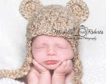 Bear Hat, Ready to Ship, Baby Boy Hat, Baby Girl Hat, Ear Flap Hat, Crochet Baby Hat, Baby Newborn Hat, Newborn Prop, Bear Ear Flap Hat