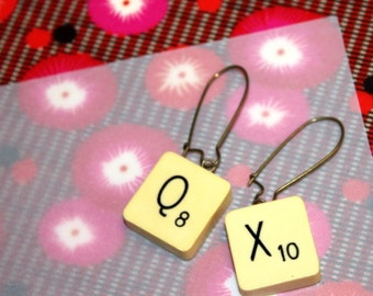 Scrabble / QX earrings, handmade