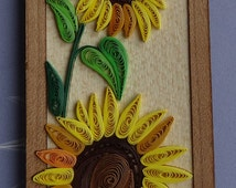 Bespoke Sunflower quilling bookmark. Handmade item, quilling paper, wooden background, quilling art and craft, speciall gift for book lover