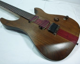 Handcrafted by Leo Super Strat Style Electric Guitar, Purpleheart, Black Walnut, Flame Maple, Leoswood