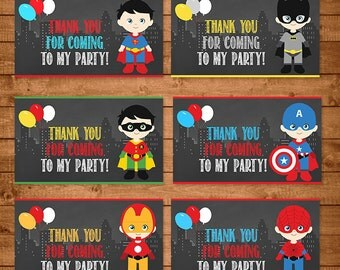 Superheroes Party Tags Chalkboard -- Superheroes Party Tags -- Superheroes Party Favors -- Superheroes Printables